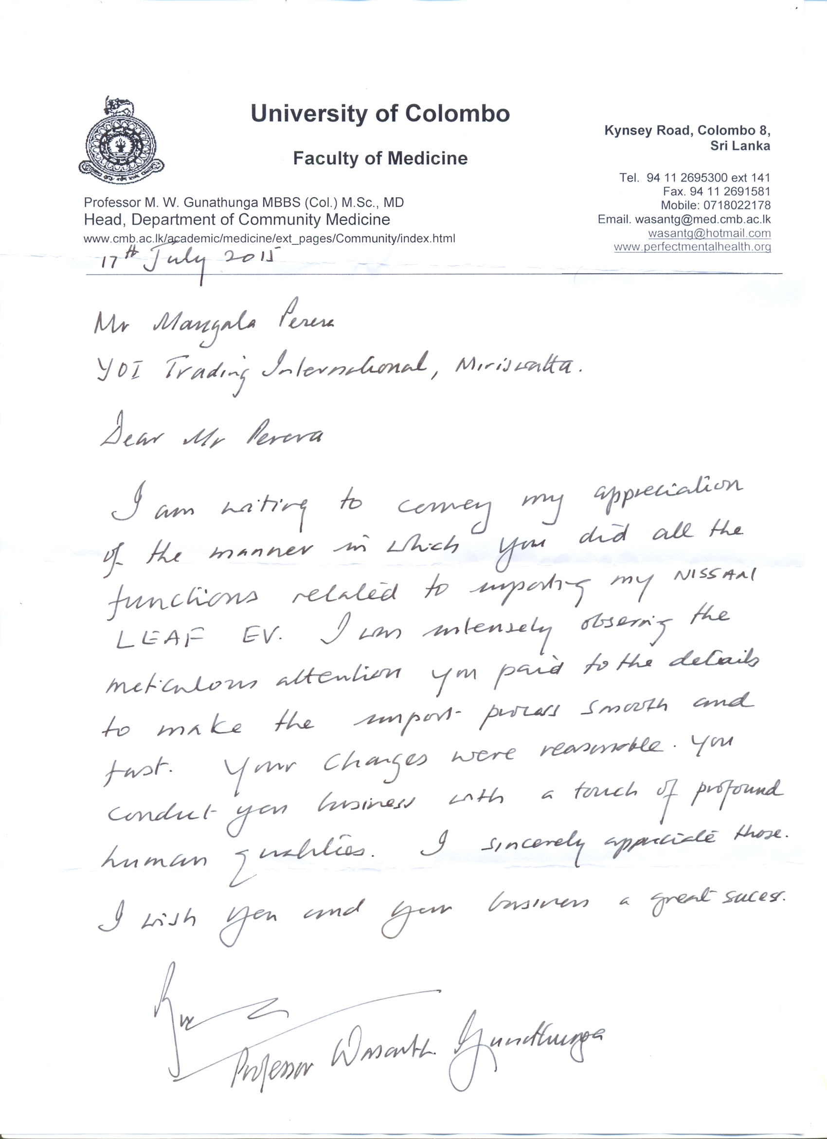 Doctor wasantha's letter